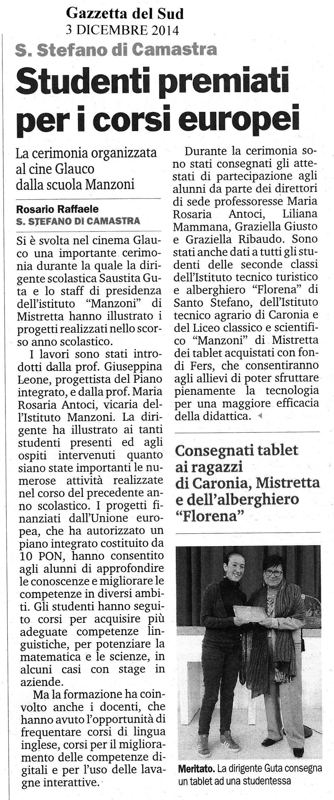 Studenti premiati per i corsi europei
