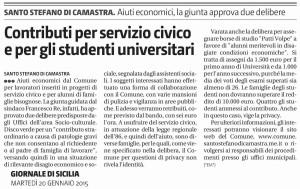 Contributi per il servizio civico e per gli studenti universitari
