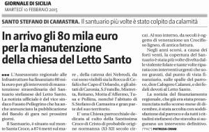 In arrivo gli 80 mila euro per la manutenzione della chiesa del Letto Santo