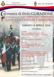 Cerimonia di Inaugurazione e intitolazione dei nuovi locali Compagnia dei Carabinieri sabato 16 Aprile 2016 ore 10:00